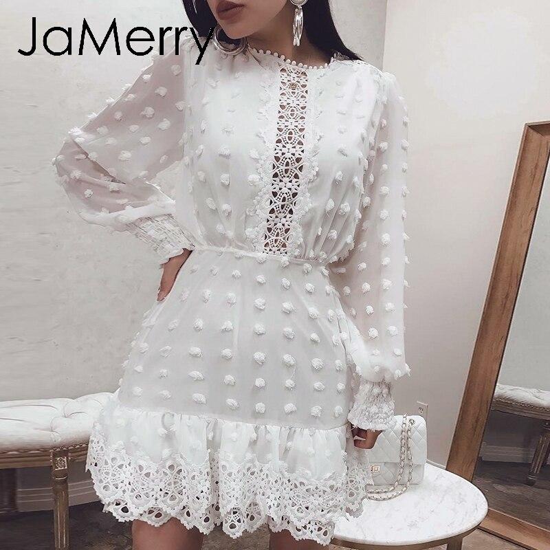 JaMerry Vintage sexy white lace short dress women Long puff sleeve dresses dots female Luxury slim party mini dress vestidos(China)