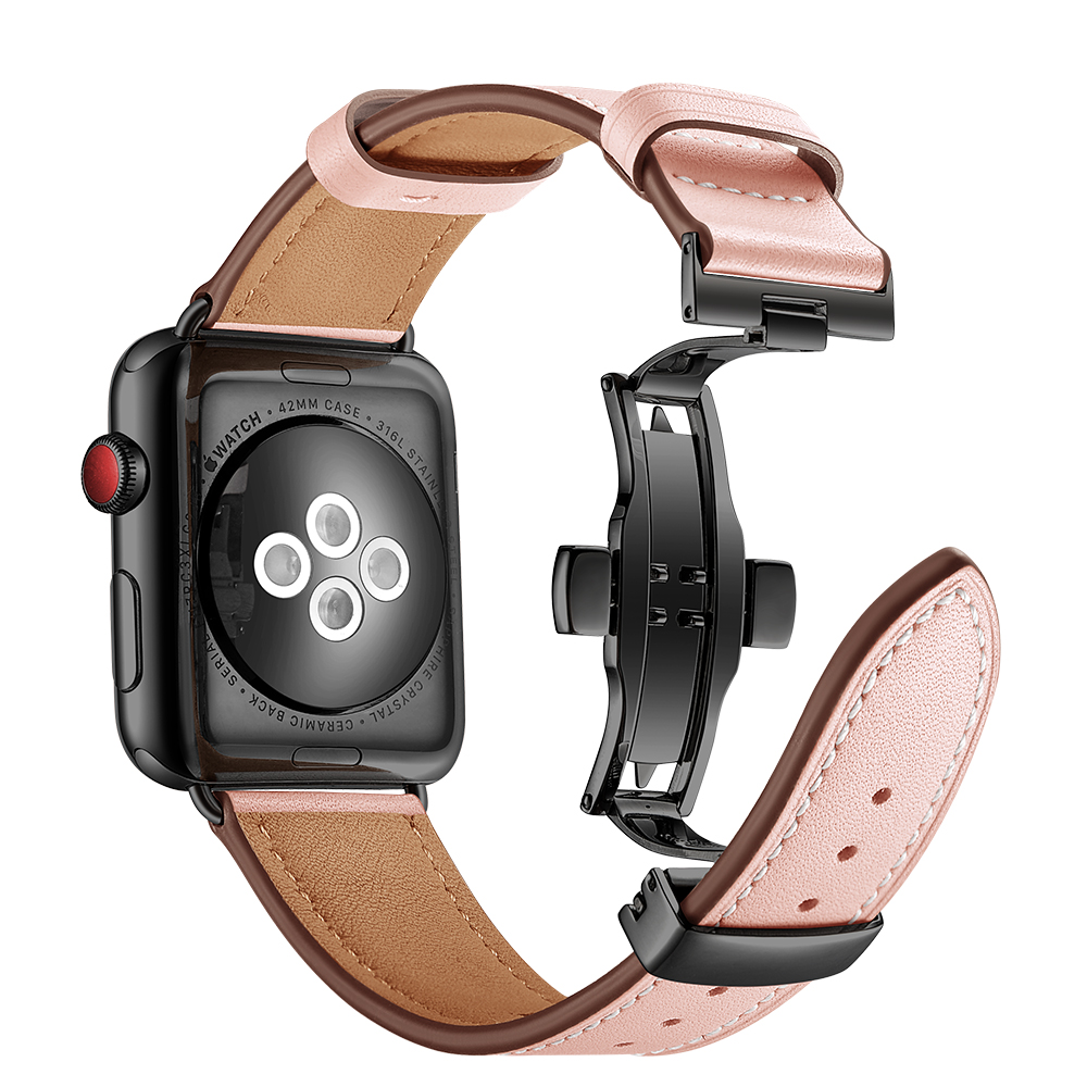 Leather band For Apple watch strap apple watch 4 band 44mm 40mm iWatch band 42mm 38mm Butterfly buckle bracelet correa watchband in Watchbands from Watches