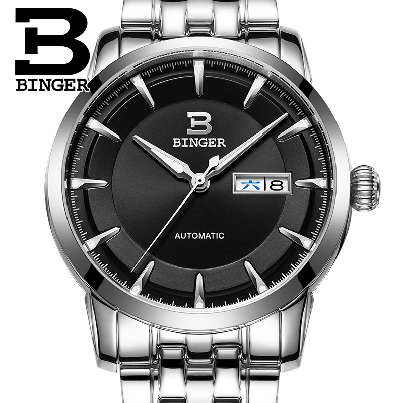 Wrist Sapphire Men Watches Stainless Steel Reloj Hombre Switzerland Men Watch Automatic Mechanical Binger Luxury Brand B-5067M wrist waterproof mens watches top brand luxury switzerland automatic mechanical men watch sapphire military reloj hombre b6036
