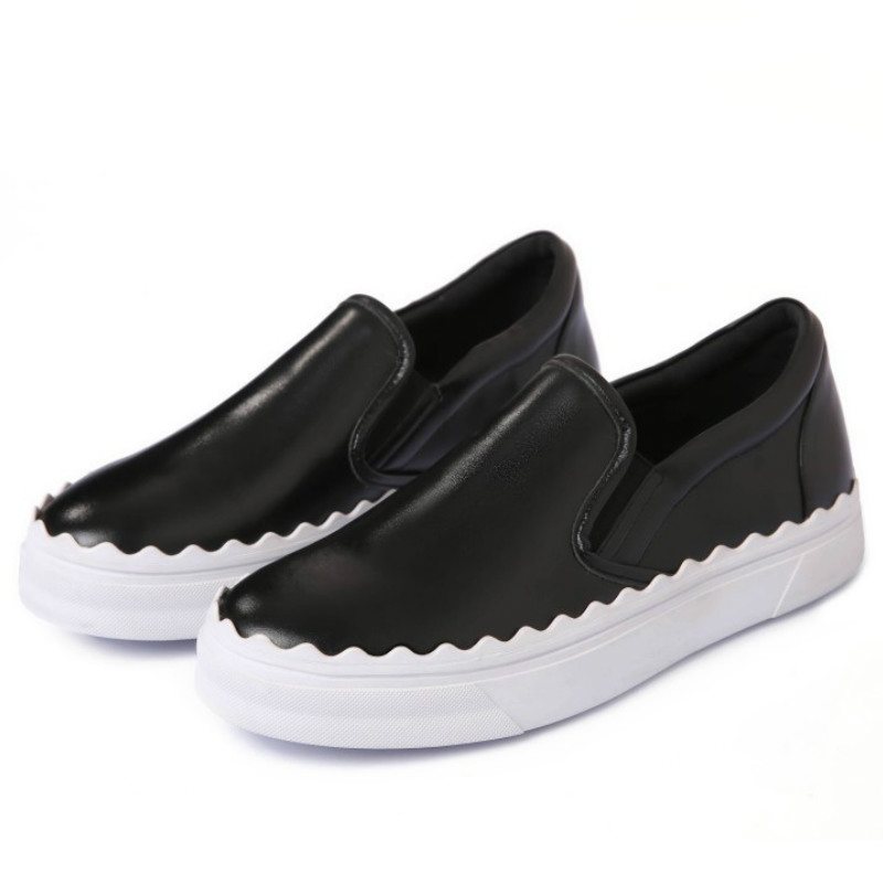 ФОТО top brand women real cow leather loafers 2017 black white slip on round toes flat heels fashion ladies spring casual flats shoes