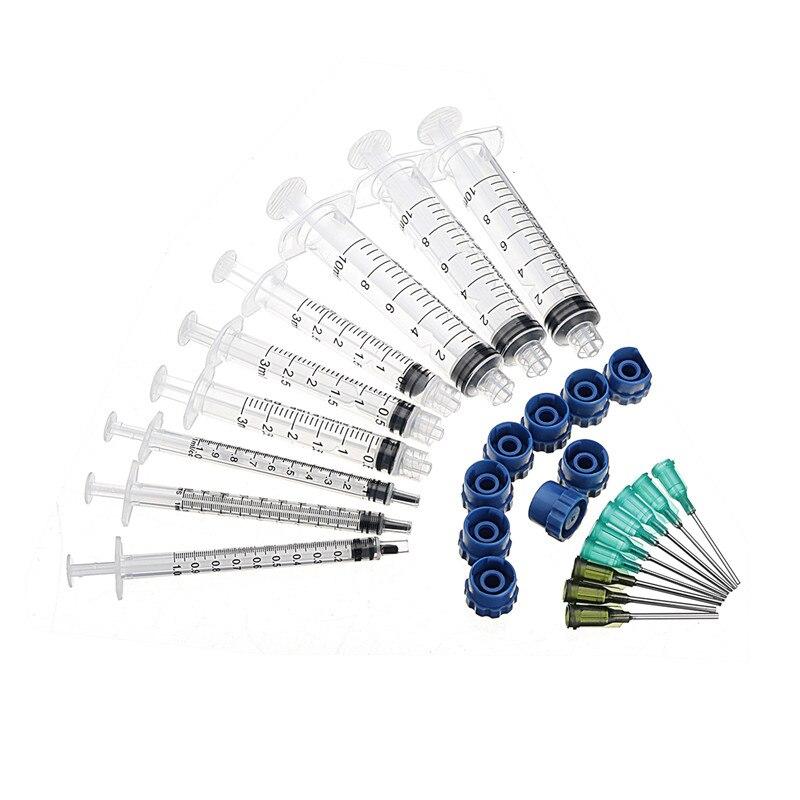 27Pcs/Set Dispensing Needle Kits Blunt Tip Syringe Needles Cap Refilling Measuring Welding Liquids Industrial Glue Applicator