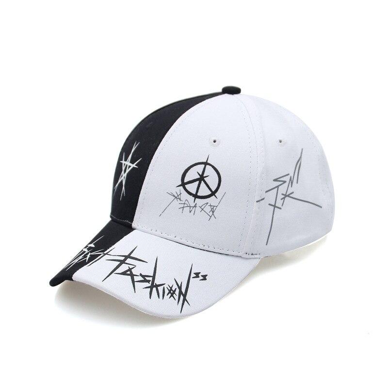 Personality black spell white hat Ms. Korean version of the wild graffiti   cap   summer   baseball     cap   male visor tide   baseball   hat