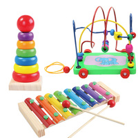 3pcs Wooden Blocks Set Baby Children Wood Toys Kits Jenga Octave Beaded Toys Educational Toys for Children Enlightenment Toy Set