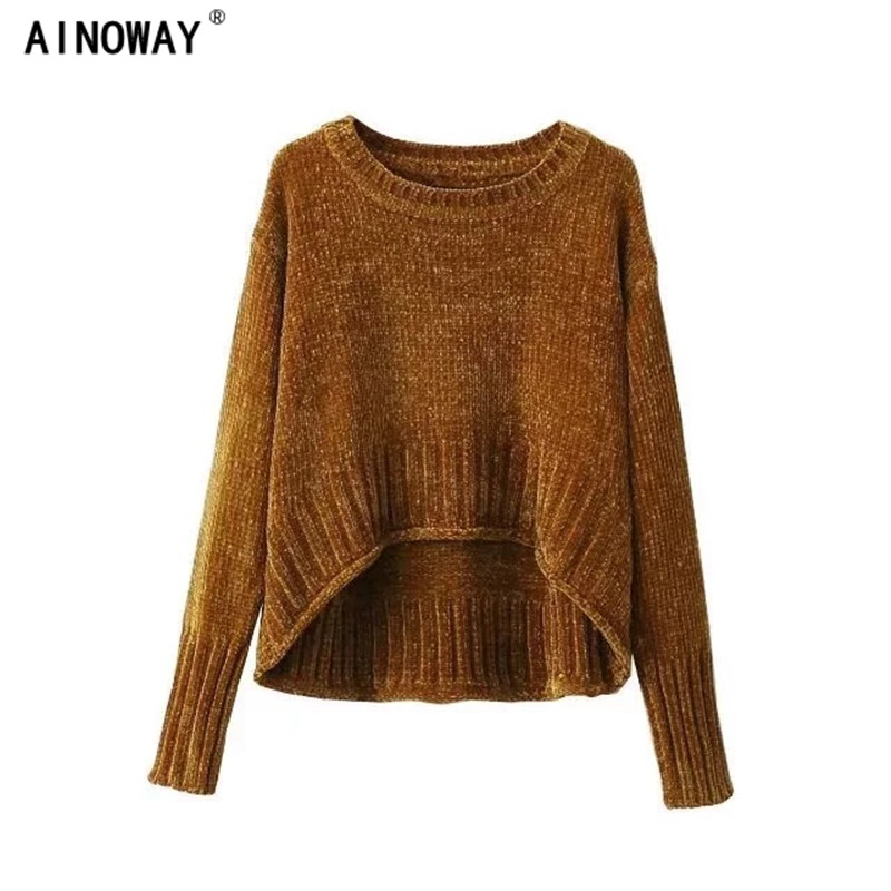 2017 autumn women retro chenille gold velvet sweater crop tops regular O-neck loose irregular pullover sweater female