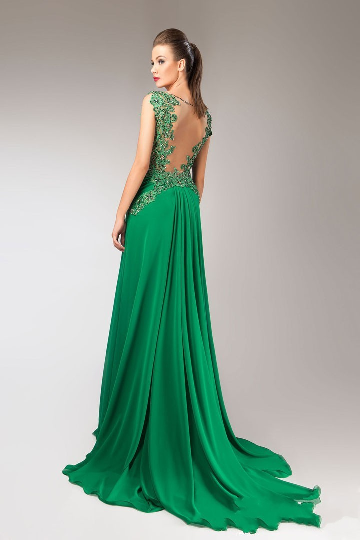 Online Shop Elegant Green Long Dress V Neck Sleeveless A Line ...