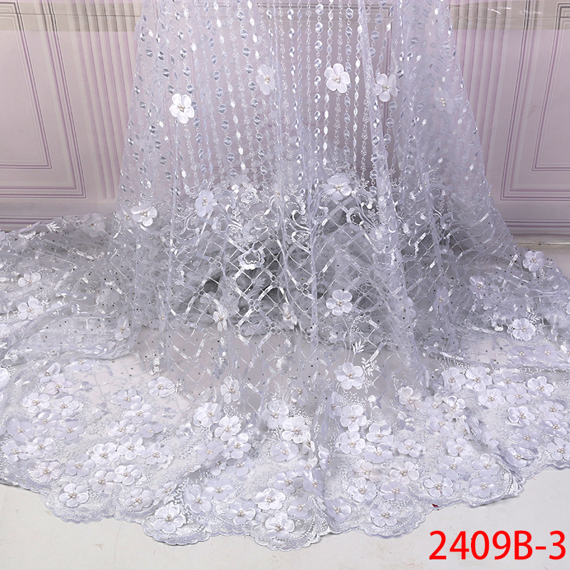 2019 White Tulle Lace Fabric High Quality African Net Lace Fabric with Beads French Mesh Lace