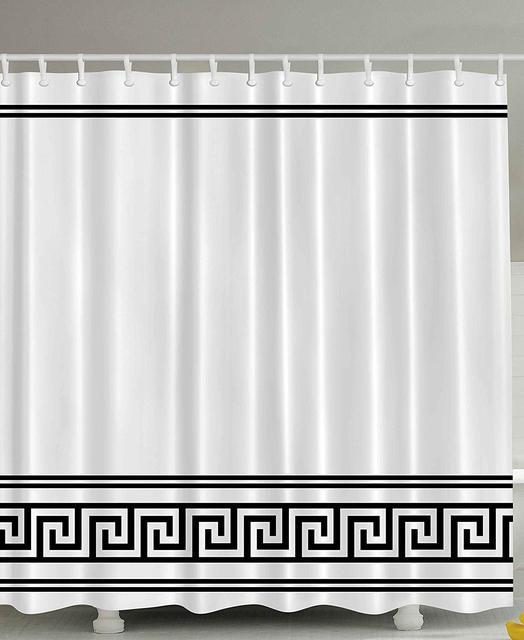 Cortina de ducha blanca y negra decoración tela griega tradicional conjunto de baño Roma diseño tema decoración