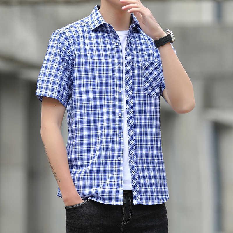夏男性のシャツ高品質半袖チェック柄シャツ男性ターンダウン襟スリムフィットビジネスフォーマルシャツ男性 4XL-M