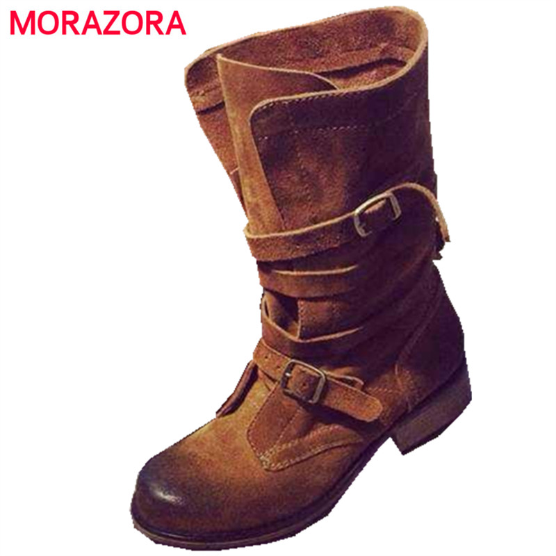 MORAZORA 2017 New high quality genuine leather ankle boots round toe platform buckle brown and black women motorcycle boots sesoo eu wireless 1 2 3 gang wifi light switch smart home automation remote control touch panel switch via broadlink rm pro rm2