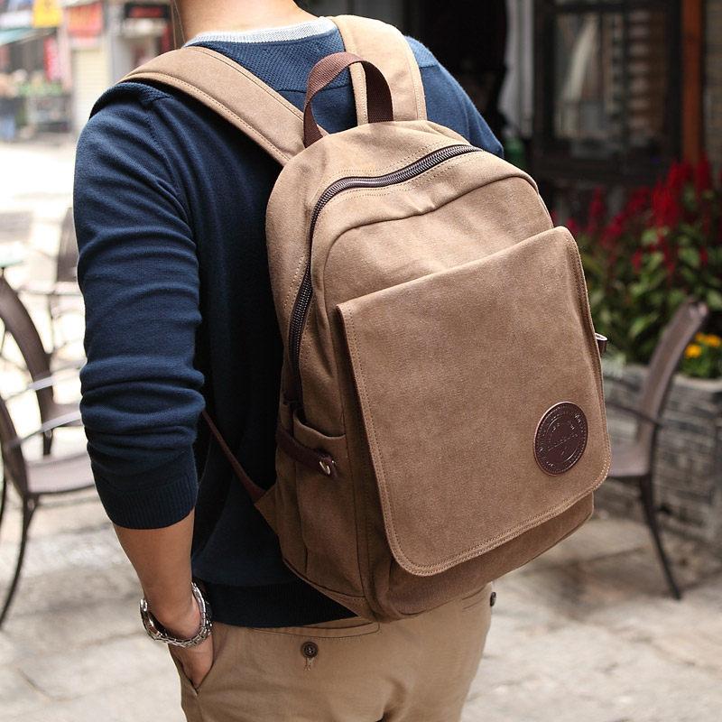 Men Casual Preppy Style Plain School Bag Trendy Simple Canvas Backpack Men Fashion Solid Color Laptop Travel Backpack waterproof fashion simple men backpack