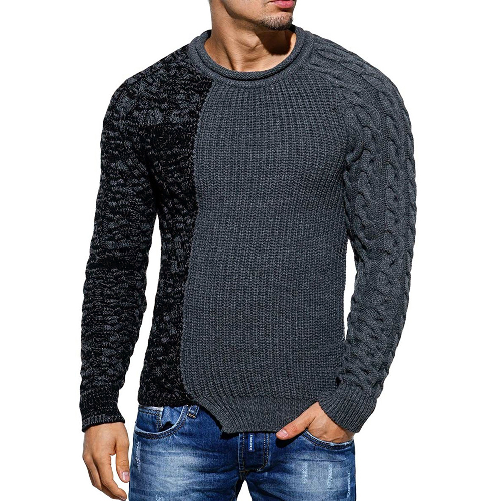 Men Sweaters 2018 Pullover New Autumn Warm High-Quality Patchwork Sweaters Man Casual Knitwear Winter  Men Black Sweatwer