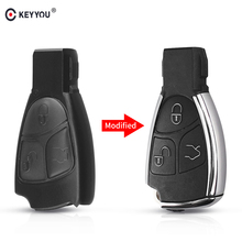 KEYYOU 3 Buttons Remote Auto Smart Key Case Shell For Mercedes Benz B C E ML S CLK CL GL W211 Chrome Style With Battery Holder