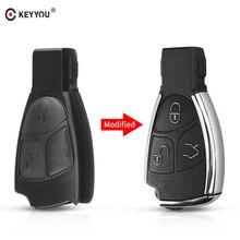 Keyyou carcaça de chave inteligente automática, para automóveis, 3 botões para mercedes benz b c e ml s clk cl gl w211 cromado estilo com suporte de bateria