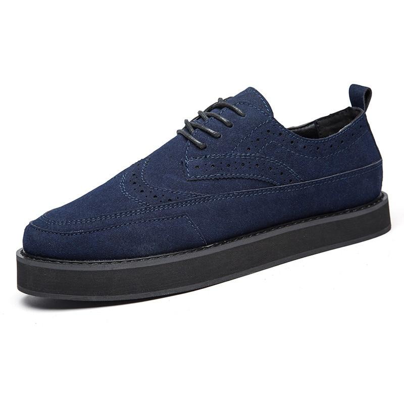Italian Handmade Mens Creepers Shoes Casual Luxury Brand Designer Brogue Shoes Men High Quality Original Espadrilles Blue Zapato
