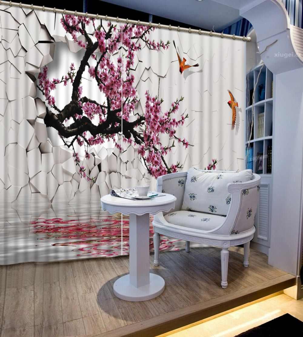 Personnalisé n'importe quelle taille 3D rideau chambre salon cuisine maison fenêtre rideaux mur trou, fleur de prunier occultant rideau tissu