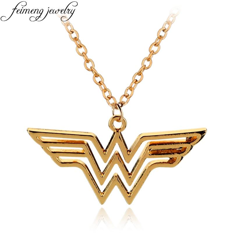 feimeng jewelry dc superhero wonder woman necklace golden. Black Bedroom Furniture Sets. Home Design Ideas