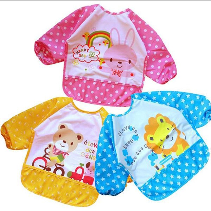 Baby Todder Kids Long Sleeve Art Smock Bib Cute Lovely Waterproof Cartoon Apron Bavoir Random Color