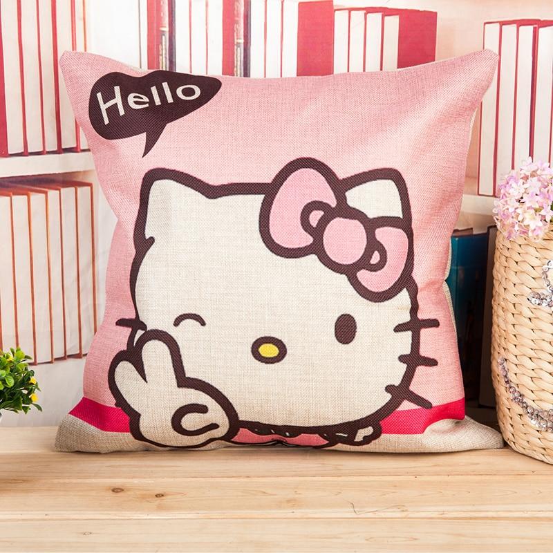Hello Kitty Home Decor: Cushion Covers 45*45cm Household Pillowcase Cushion Linen