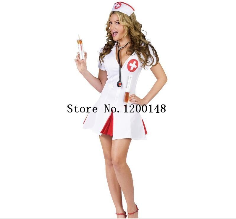Hot Sexy Nurse Costume Set Fantasias Sexy Erotic Cosplay Costume Nurse Uniform Tempt V-Neck Dress Bucaneras Mujer Nurse lingerie