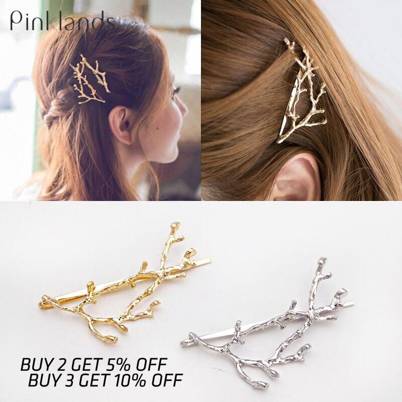 Vintage Gold Silver Tree Hair Clips Metal Tree Branches Barrettes Hairpins Headwear Hair Pins Hair Accessories For Women Girl