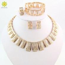 Moda Sistemas de La Joyería de Traje Africana de Oro Chapado Mujeres Dubai Rhinestone Choker Necklace Set Accesorios de Boda Del Partido