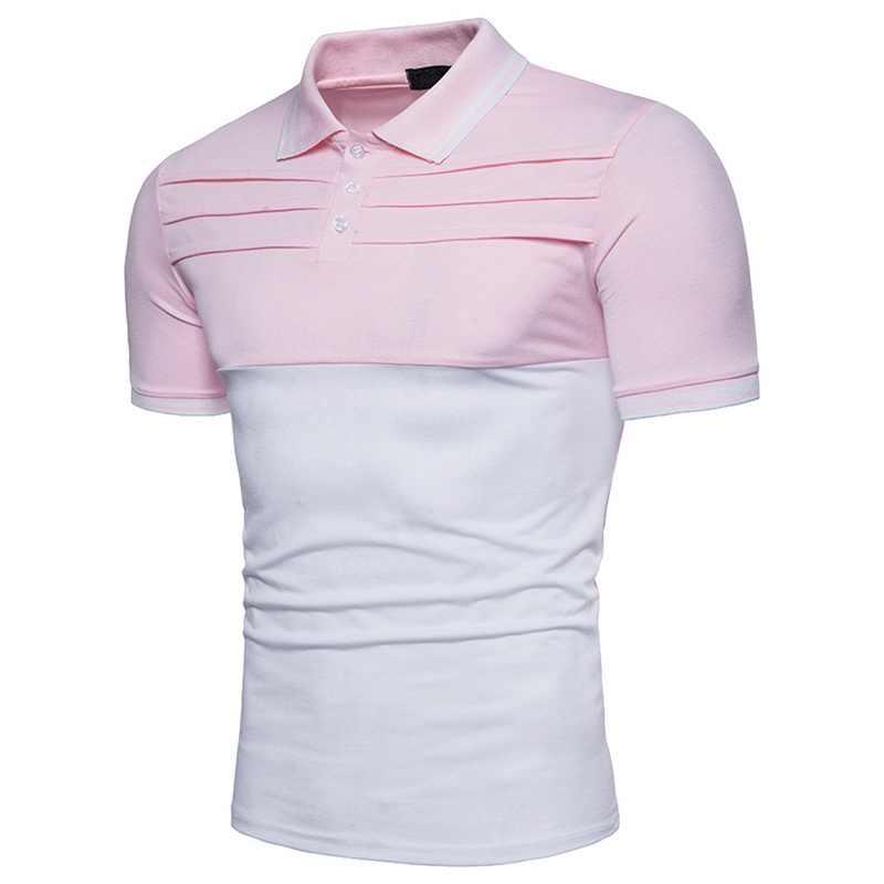 WENYUJH 2019 レジャーポロシャツメンズ夏のファッションのパッチワーク黒、白ステッチ綿半袖快適なポロトップス