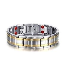 2018 Bio Bracelet Energy Magnetic Health Bracelet Men health Style Plated Gold Bracelets For Men Titanium steel bracelet Male chic embellished titanium steel bracelet for men