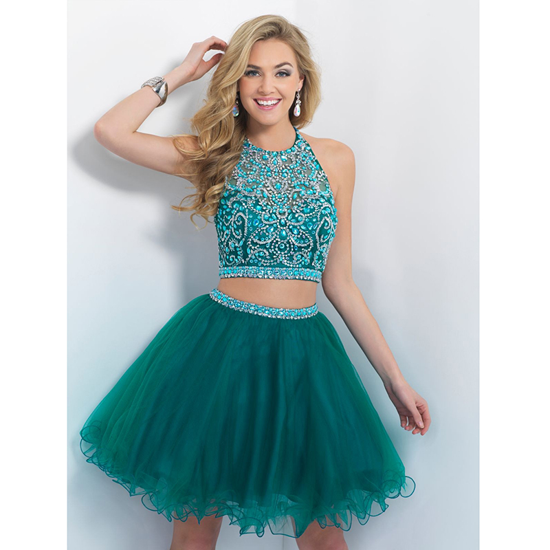 Chic Short Royal Blue Homecoming Dresses Sexy Halter Illusion ...