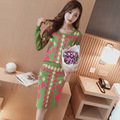 han edition fashion long-sleeved sweater knit two-piece printing + package hip skirt cultivate morality show thin suit