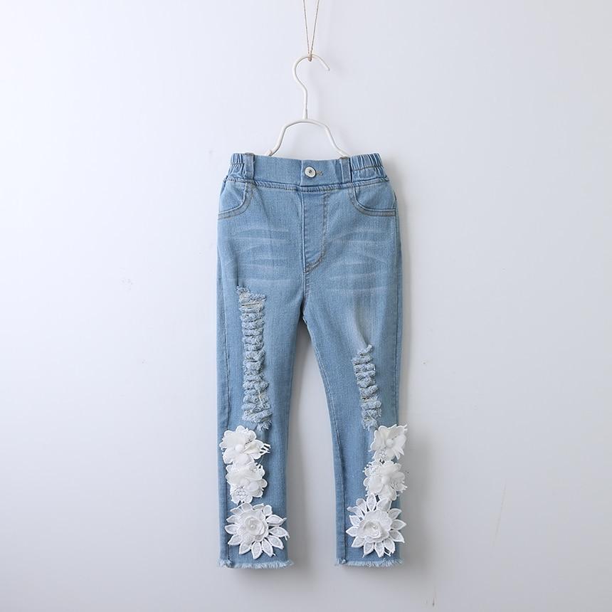 Toddler Girl Fashion Denim Pants Ripped Jeans White Flower ...