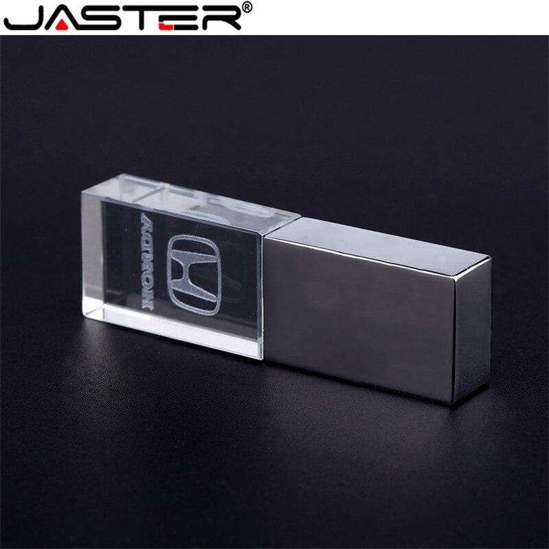 JASTER Honda Crystal + Metal USB Flash Drive Pendrive 4GB 8GB 16GB 32GB 64GB USB 2.0 External Storage Memory Stick U Disk