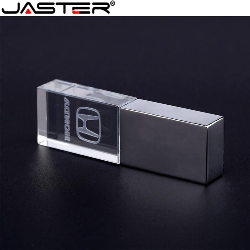 JASTER Crystal + Metal USB Flash Drive Pendrive 4GB 8GB 16GB 32GB 64GB USB 2.0 External Storage Memory Stick U Disk