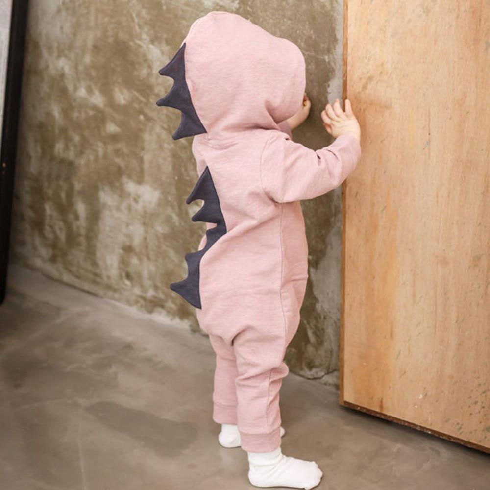 Recién nacido Niño bebé dinosaurio con capucha del mameluco manga larga sólido mamelucos del bebé Casual cómodo