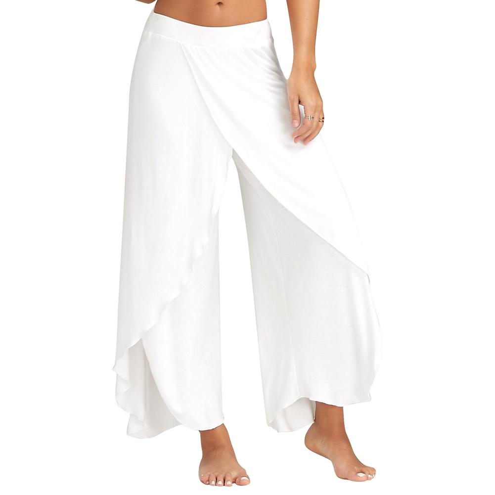 Summer Women   Wide     Leg     Pants   High Split Solid Color Flowy Casual Trousers AIC88