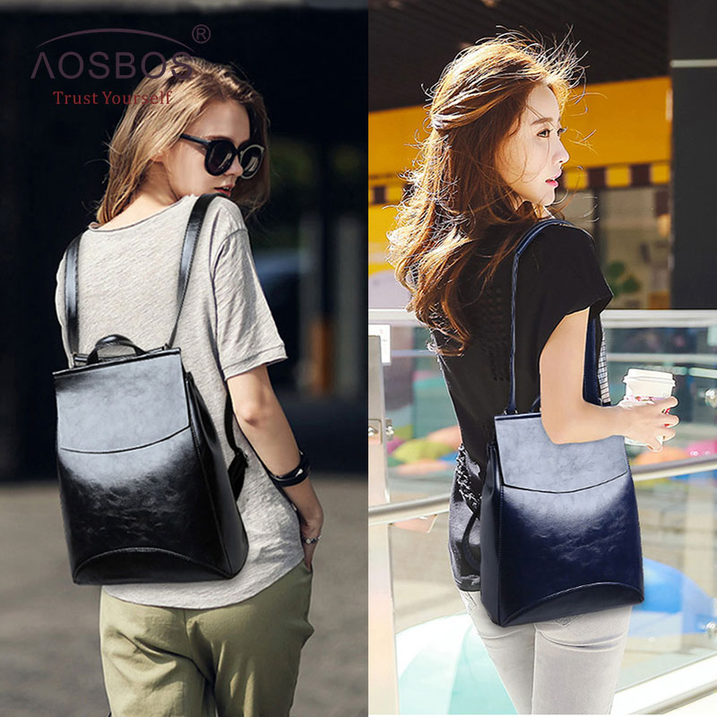 Aosbos Fashion Women Backpack High Quality Youth Pu Leather School Shoulder Bag For Teenage Girls Female Vintage Lady Style #6