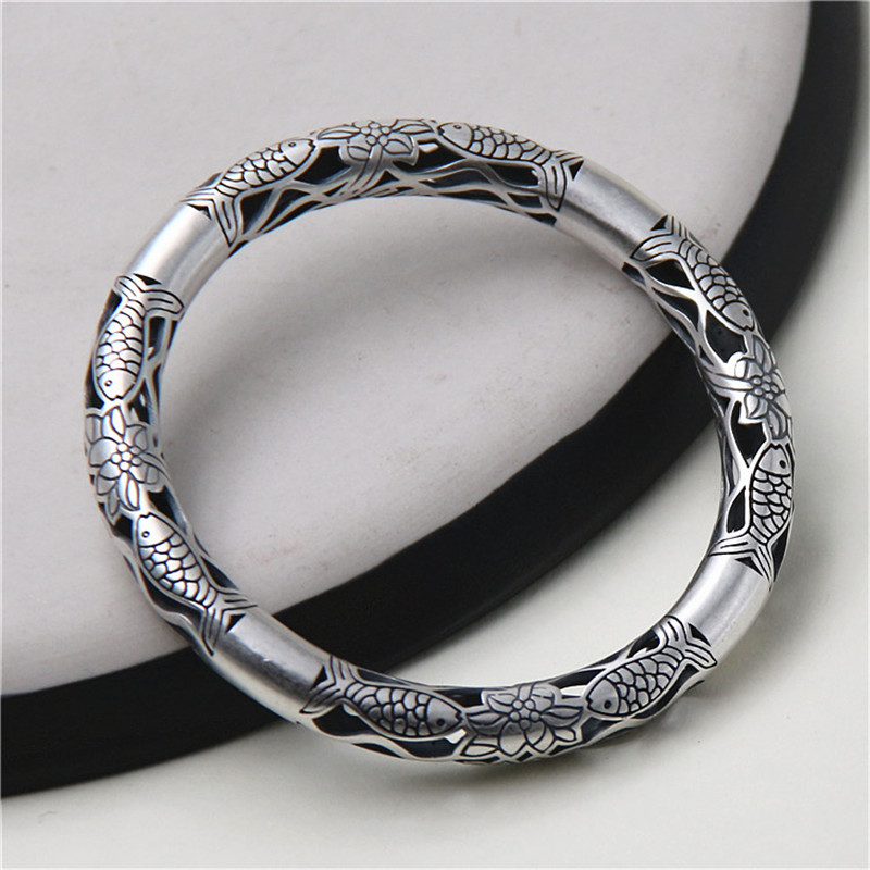 JINSE Lose Money! Wholesale 999 Silver Bangle Bracelet Antique Thai Silver Fish & Lotus Flower Hollow Bangle original from uk fraser 850 conductive microfibre filament cord anti static string 10m 25m