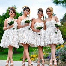 New Flower Lace Short Bridesmaid Dresses for Weddings Party Sleeveless Sweetheart Bridesmaid Guest Prom Gown 2017 casamento PB62