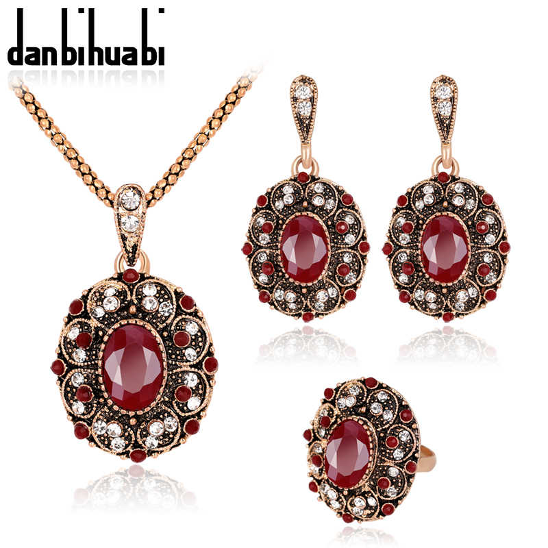 2018 Rhinestone Earrings and Necklace Set of Ornaments Costume Jewelry Sets for Women Bijouterie Ethiopian turkish Jewelry Sets
