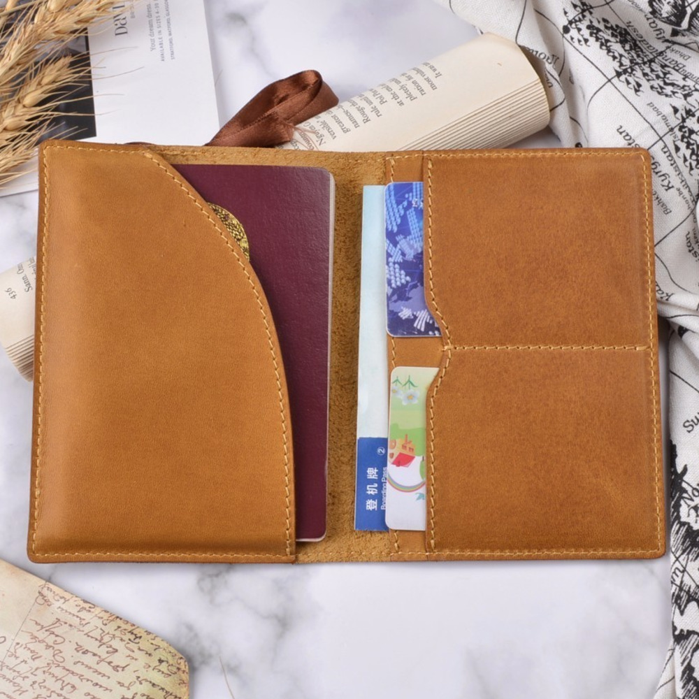 New Arrivals Leather Passport Cover Solid Credit ID Card Case Holder Genuine Cowhide Leather Business Unisex Travel Wallet
