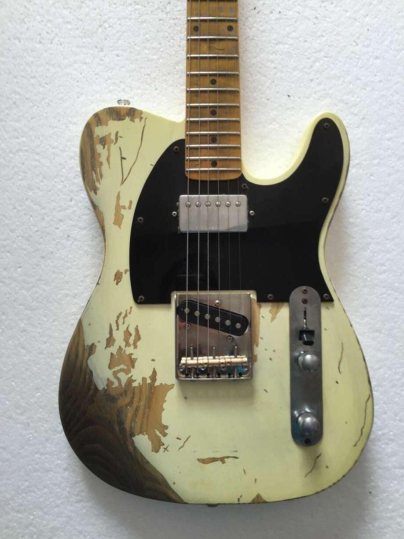 Buona qualità Relic TL chitarra elettrica selle in ottone di età compresa tra hardware humbucker neck pickup corpo in FRASSINO