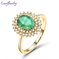 Natural Diamond Emerald Ring In 18Kt Rose Gold Real Gold Emerald Oval 6 1x8 1mm Ring