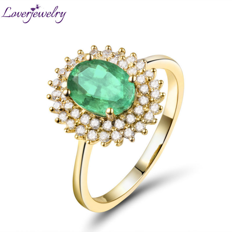 Solid 18K Yellow Gold Luxury Design Natural Emerald Wedding Diamond Women's Promised Ring Genuine Gemstone for Wife WU222B solid 18k yellow gold green emerald wedding diamonds rings good quality genuine gemstone fine jewelry for women promised gift