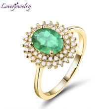 Solid 18K Yellow Gold Luxury Design Natural Emerald Wedding Diamond Women's Promised Ring Genuine Gemstone for Wife WU222B