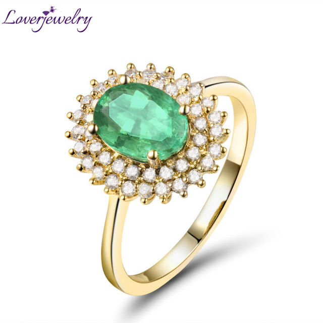 Solid 18K Yellow Gold Luxury Design Natural Emerald Wedding