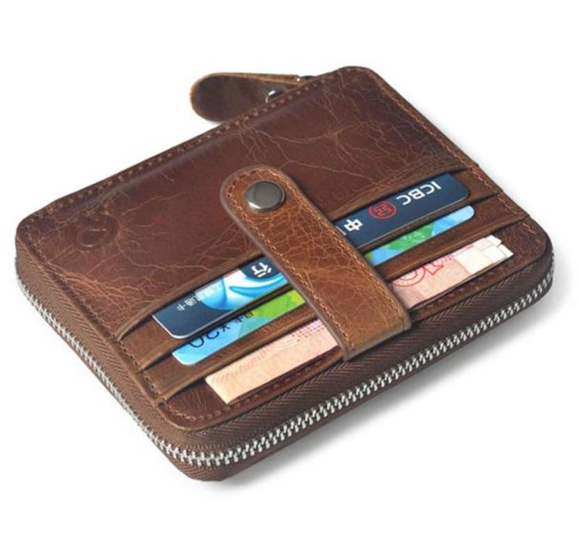 Men Visiting Card Purse Short Section Man handbag ID Credit Card Holder Holder Thin Leather leisure Coin mini bag carteira Gift ...