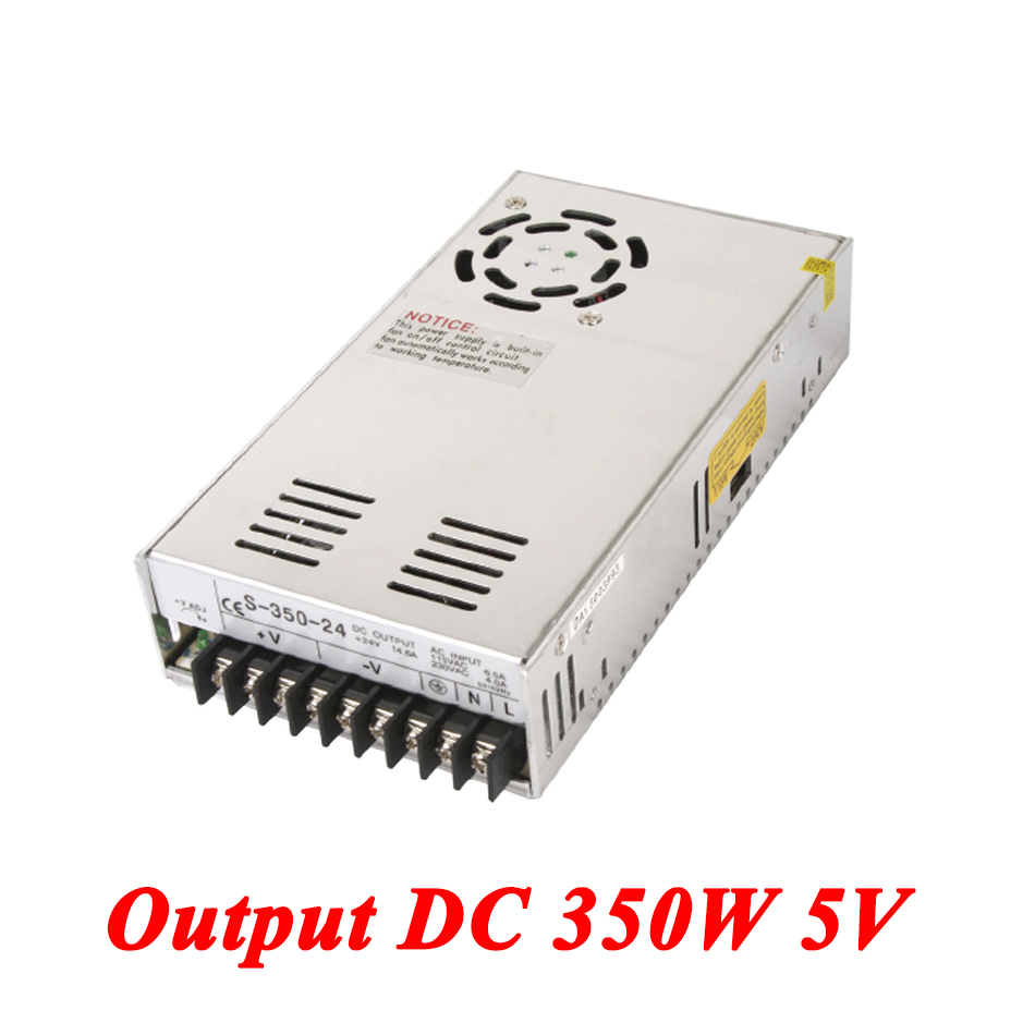 S-350-5 350W 5v 70A Single Output Ac-dc Switching Power Supply For Led Strip,AC110V/220V Transformer To DC 5V,led Driver 20pcs 350w 12v 29a power supply 12v 29a 350w ac dc 100 240v s 350 12 dc12v