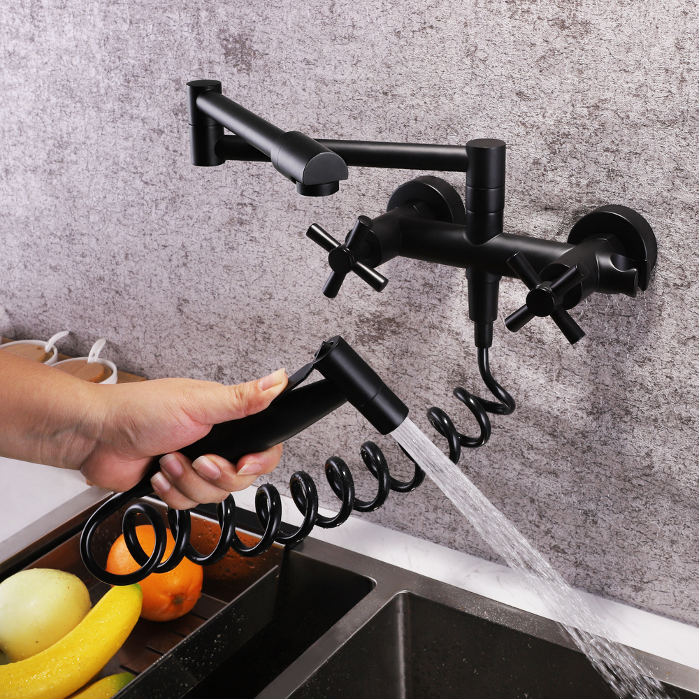 SKOWLL Wall Mounted Stream Sprayer Kitchen Faucet Dual Handle with Sprayer Flexible 360 Degree Rotating Folding Spout in Kitchen Faucets from Home Improvement