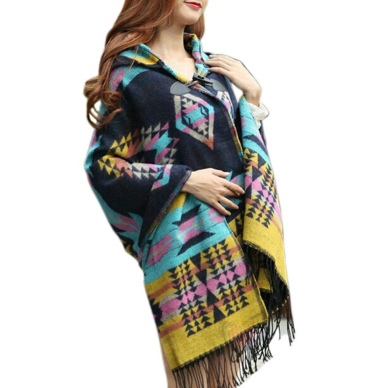 Moda Feminina Bohemian Xadrez Gola Cape Casaco Poncho Casaco Jaqueta Xale  Scarf 6 Cores T55 437d48a884a4d