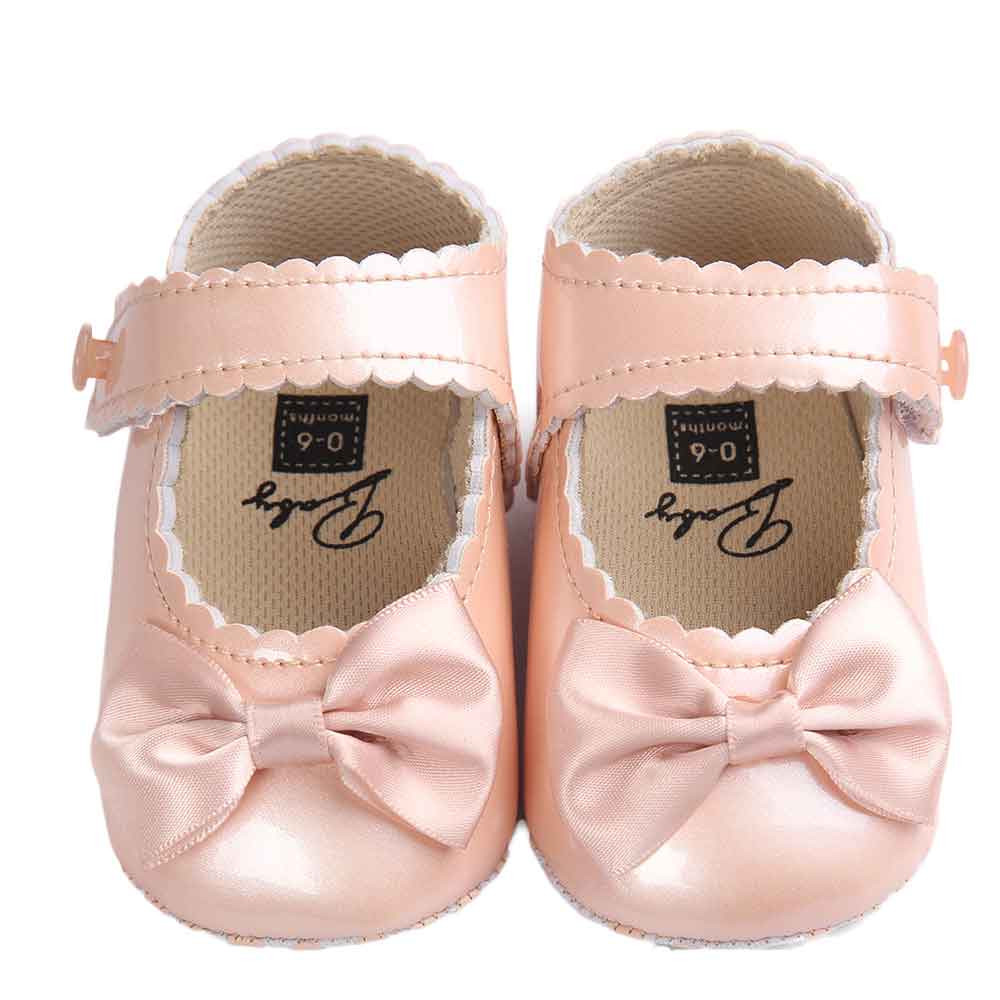 Huang Neeky W#5 Fashion Daily Baby Girl Bowknot Leater Shoes Sneaker Anti-slip Soft Sole Toddler Comfortable