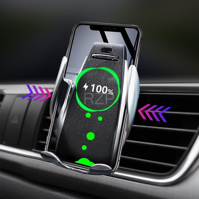 RZP Qi Car Wireless Charger For iPhone Xs Max Xr X Samsung S10 S9 Automatic Intelligent Fast Wirless Charging Car Phone Holder